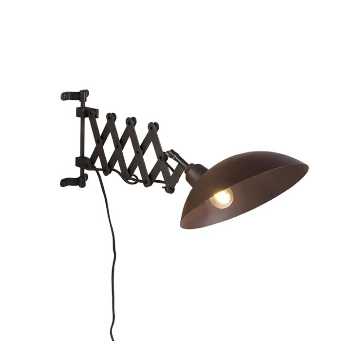 Industriele-wandlamp-met-harmonica-arm-brons-met-zwart---Tyne