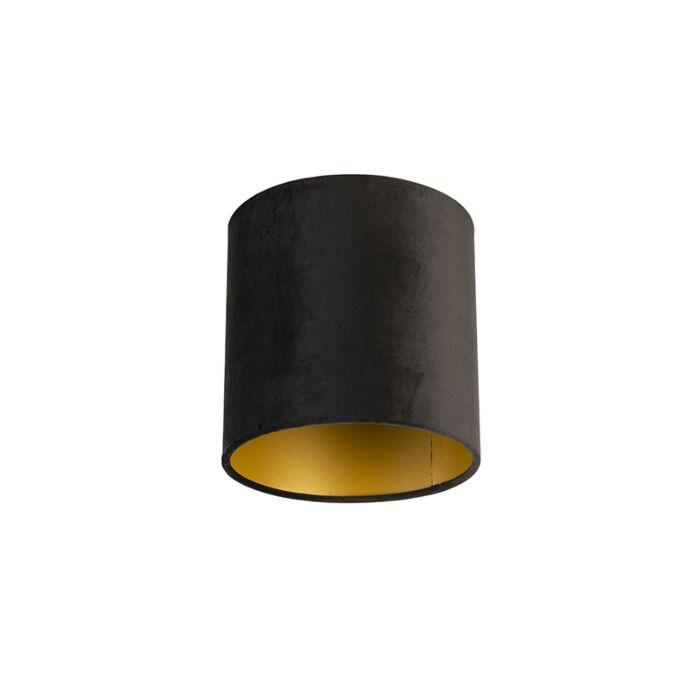 Velours-lampenkap-zwart-20/20/20-met-gouden-binnenkant