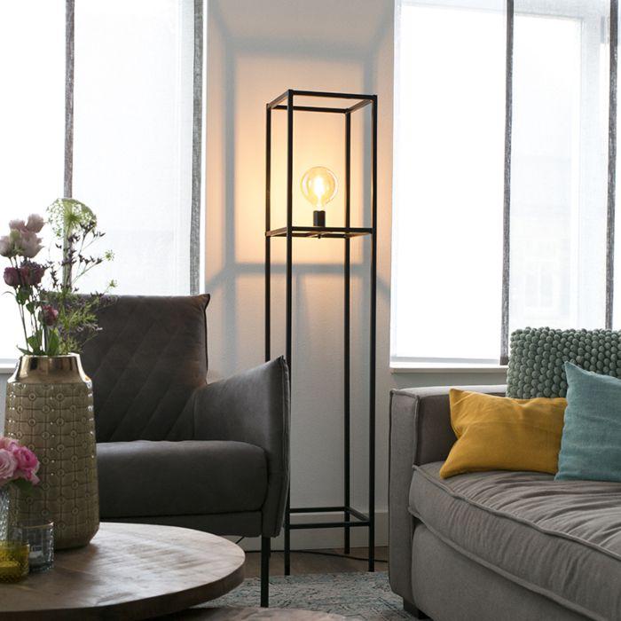 Industriële-vloerlamp-1-lichts-zwart---Big-Cage