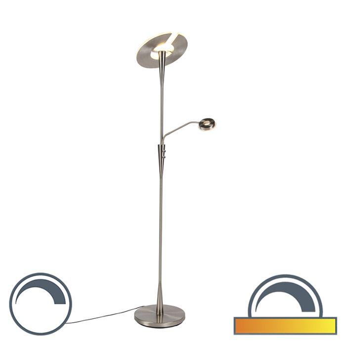 Moderne-vloerlamp-staal-met-leeslamp-incl.-LED---Moderno