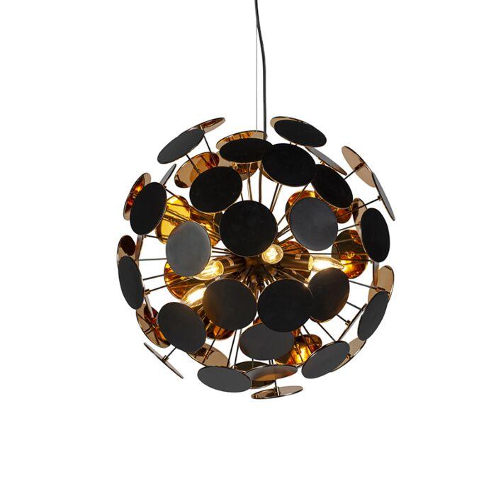 Moderne-hanglamp-zwart-met-goud-6-lichts---Cerchio
