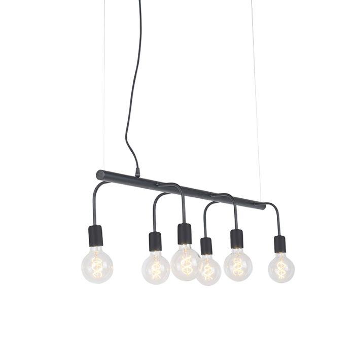 Moderne-hanglamp-zwart-6-lichts---Facile