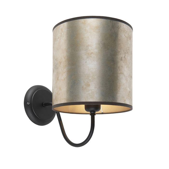 Klassieke-wandlamp-zwart-met-zinken-velours-kap---Matt