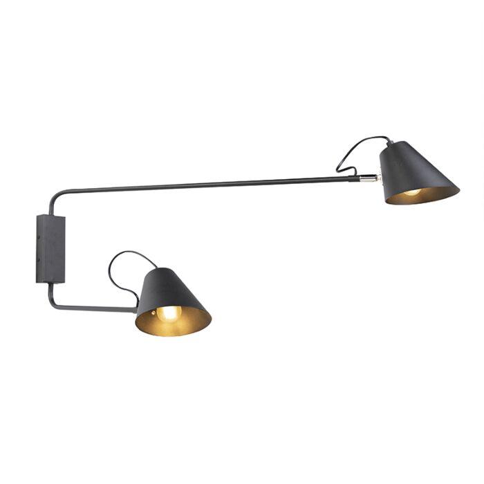 Design-wandlamp-zwart-2-lichts-verstelbaar---Lune