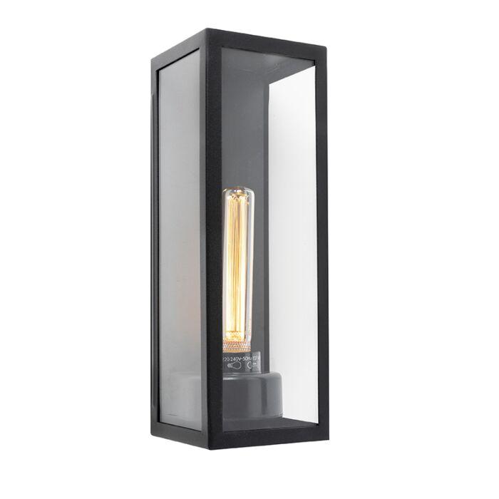 Moderne-rechthoekige-buitenwandlamp-zwart-met-glas---Rotterdam-Long