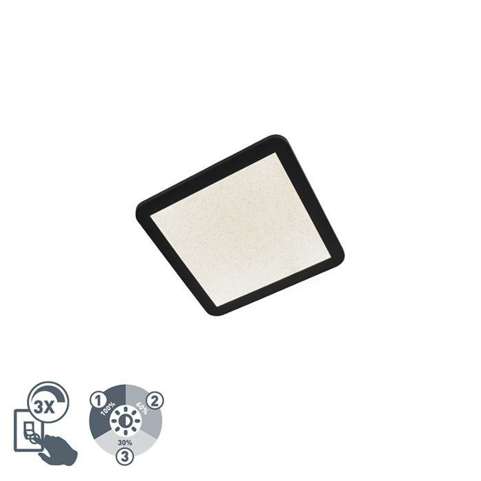 Moderne-plafondlamp-30cm-zwart-IP44-3-staps-dimbaar-incl.-LED---Steve