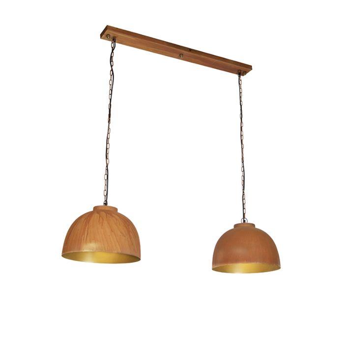 Industriële-hanglamp-roestbruin-2-lichts---Hoodi
