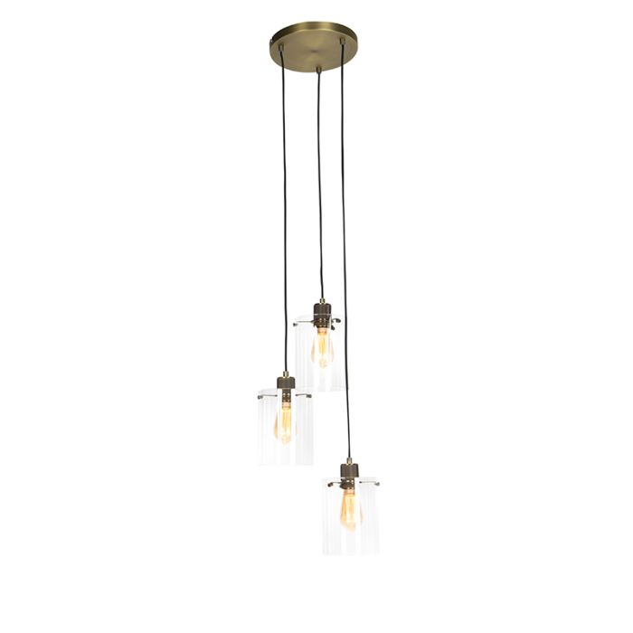 Moderne-hanglamp-brons-met-glas-3-lichts---Dome