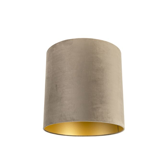 Velours-lampenkap-taupe-40/40/40-met-gouden-binnenkant
