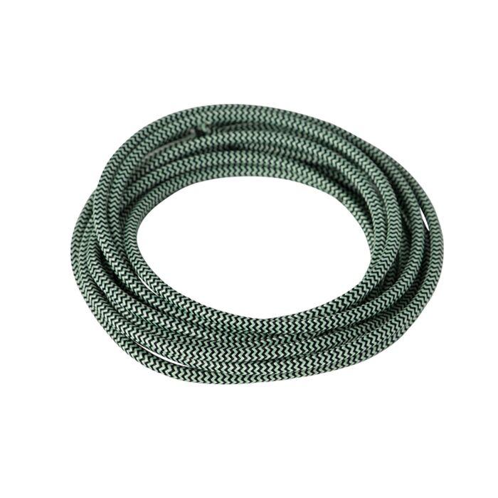 Stoffen-kabel-gevlochten-1-meter-zwart-groen