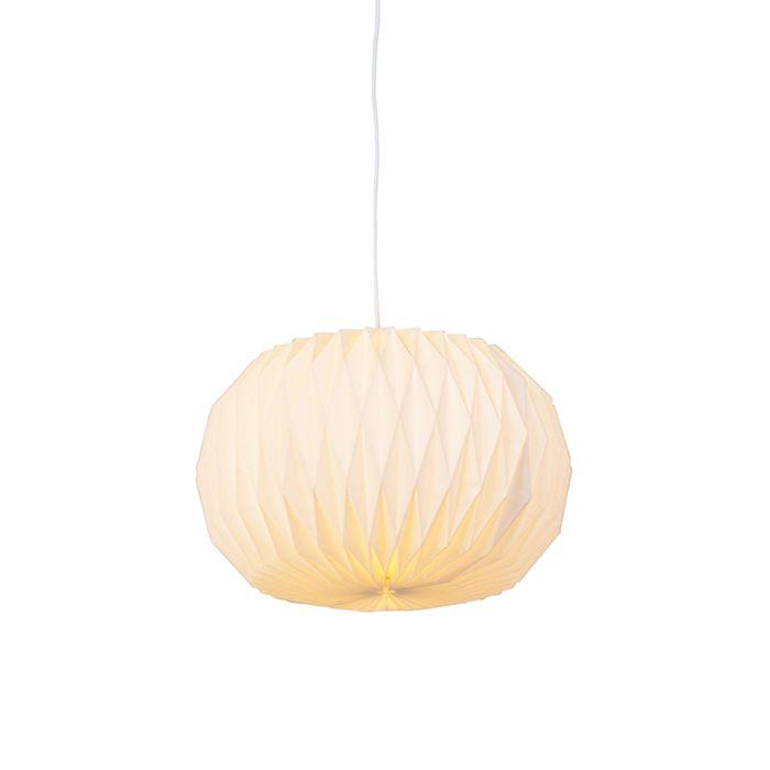 Moderne-papieren-hanglamp-wit---Paper-Round