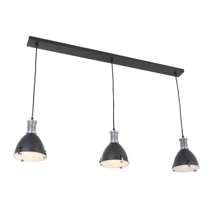 Industriele-hanglamp-zwart-3-lichts---Rick