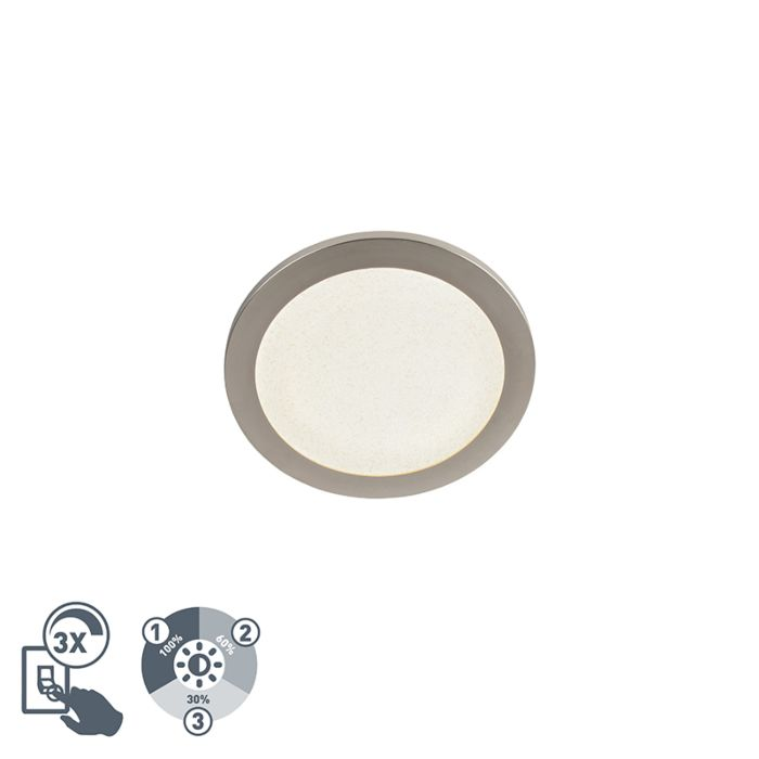 Moderne-ronde-plafondlamp-26cm-staal-IP44-3-staps-dimbaar---Steve