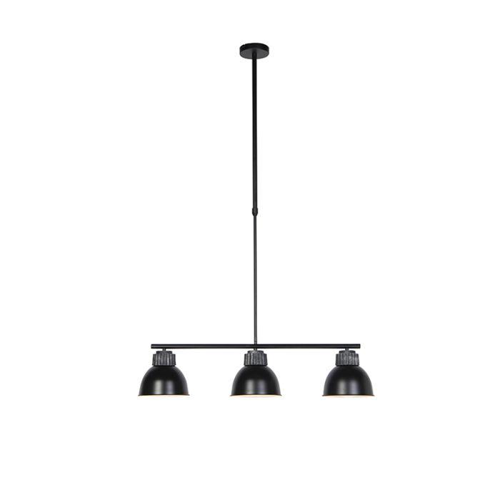 Industriele-hanglamp-zwart-met-zilver-3-lichts---Frodo