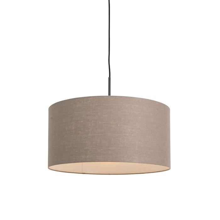 Landelijke-hanglamp-zwart-met-bruine-kap-50-cm---Combi-1