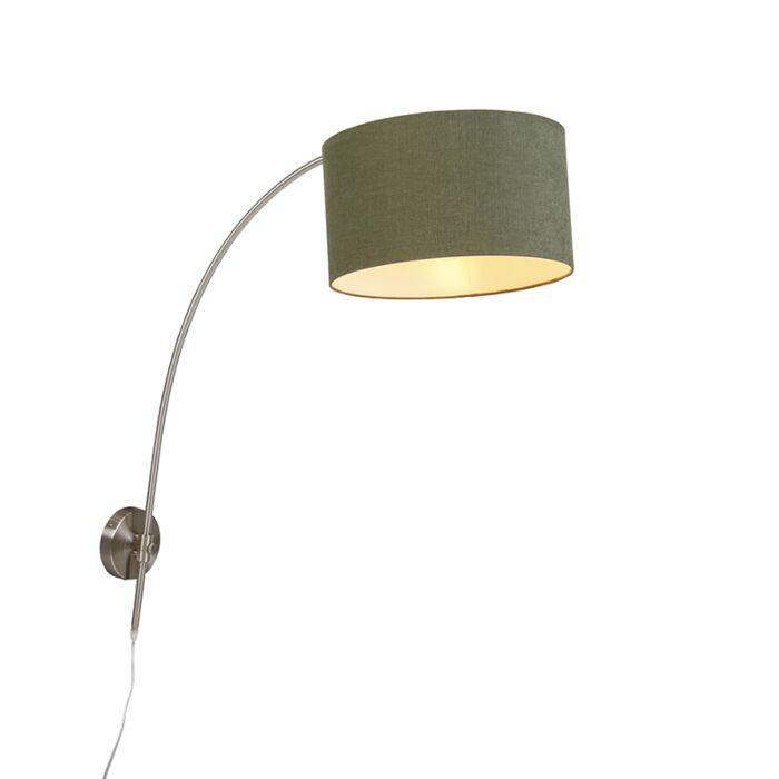 Wonderbaarlijk Wandlamp boog staal met kap 35/35/20 cilinder mos groen   Lampenlicht GQ-46