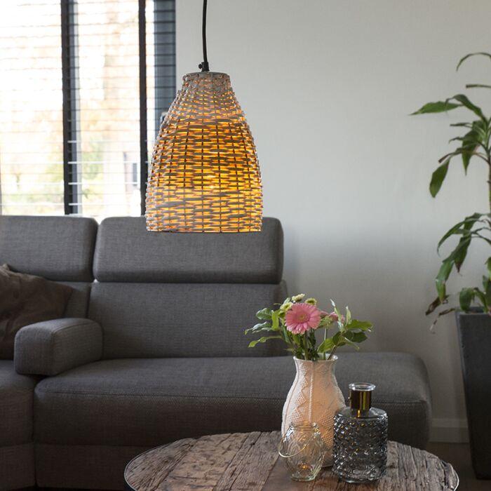 Landelijke-hanglamp-20cm-rotan-en-wit-met-ijzeren-details--Burn-Rattan