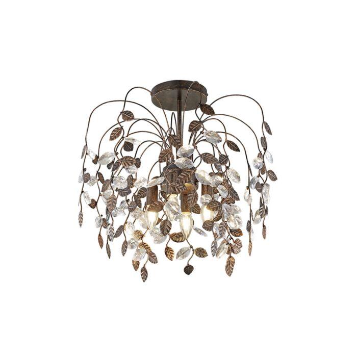 Landelijke-plafondlamp-met-blaadjes-in-roestbruin-en-glas---Serga