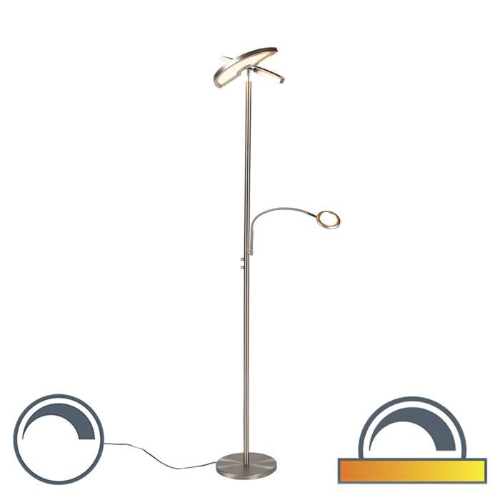Moderne-vloerlamp-staal-met-leeslamp-incl.-LED---Moderno-II
