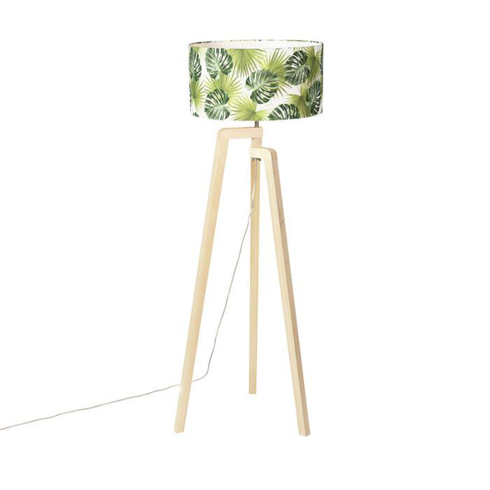 Vloerlamp-tripod-hout-met-kap-leaf---Puros