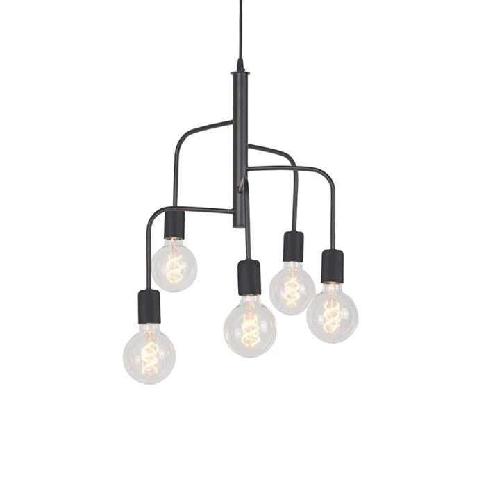 Moderne-hanglamp-zwart-5-lichts---Facile