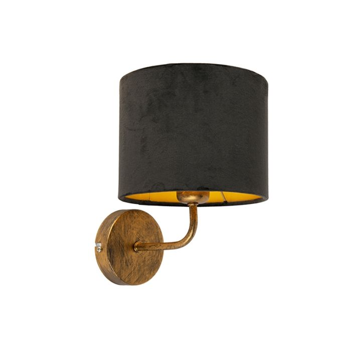Vintage-wandlamp-goud-met-zwarte-velours-kap---Matt