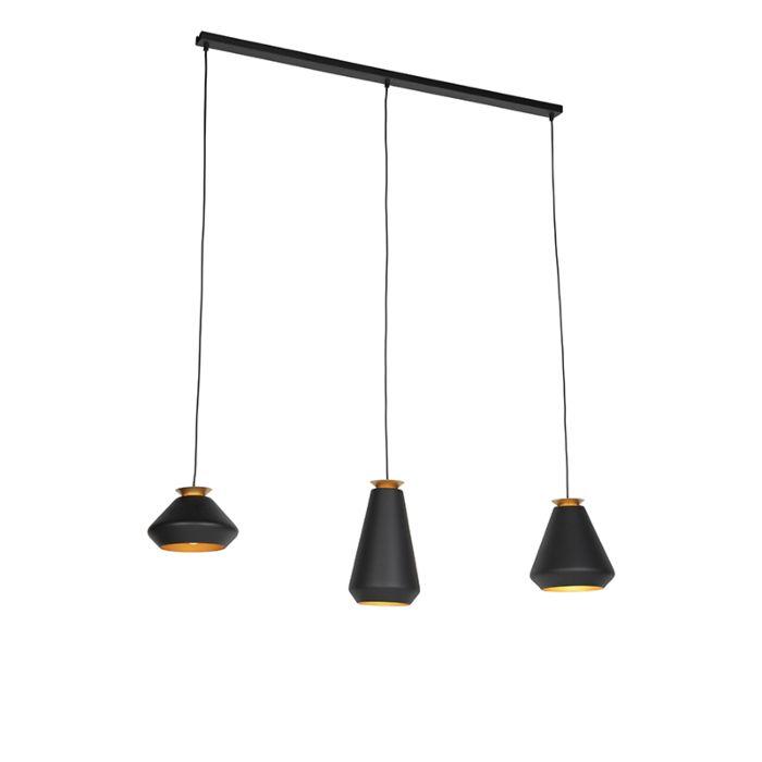 Moderne-hanglamp-3-lichts-zwart-met-goud-balk---Mia