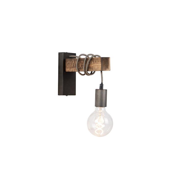 Industriële-wandlamp-zwart-met-hout---Gallow
