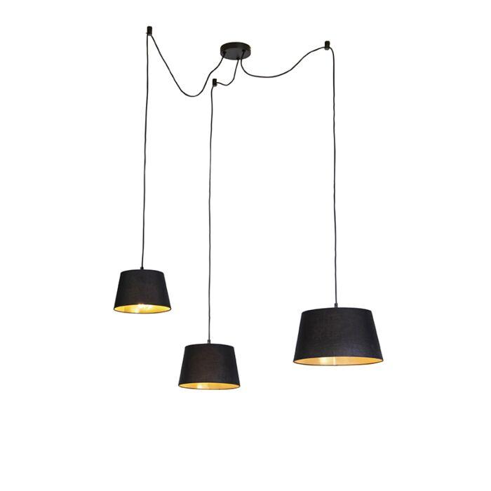 Hanglamp-met-3-katoenen-kappen-zwart-met-goud---Cava
