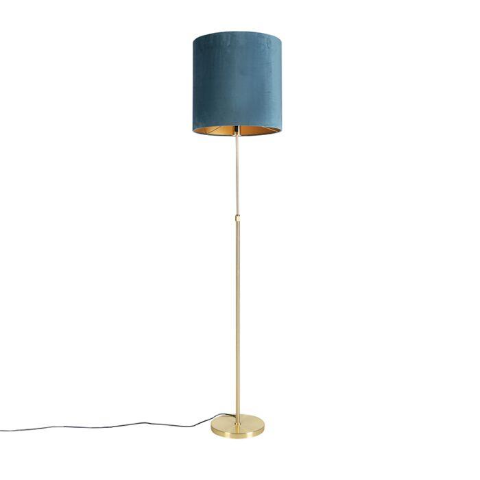 Vloerlamp-goud/messing-met-velours-kap-blauw-40/40-cm---Parte