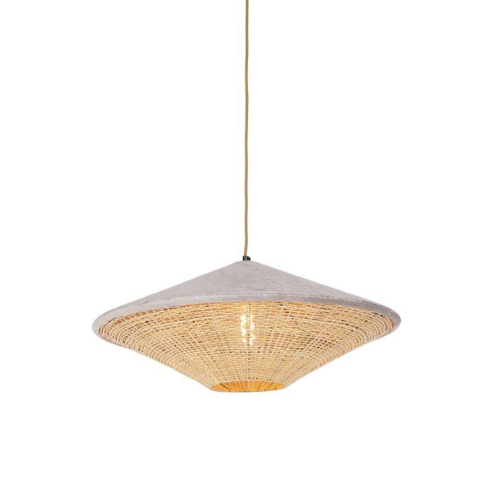 Landelijke-hanglamp-beige-velours-met-riet-60-cm---Frills-Can