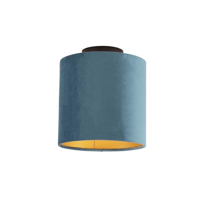 Plafondlamp-met-velours-kap-blauw-met-goud-20-cm---Combi-zwart