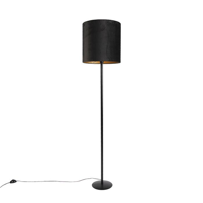 Zwarte-vloerlamp-met-velours-kap-zwart-met-goud-40-cm---Simplo