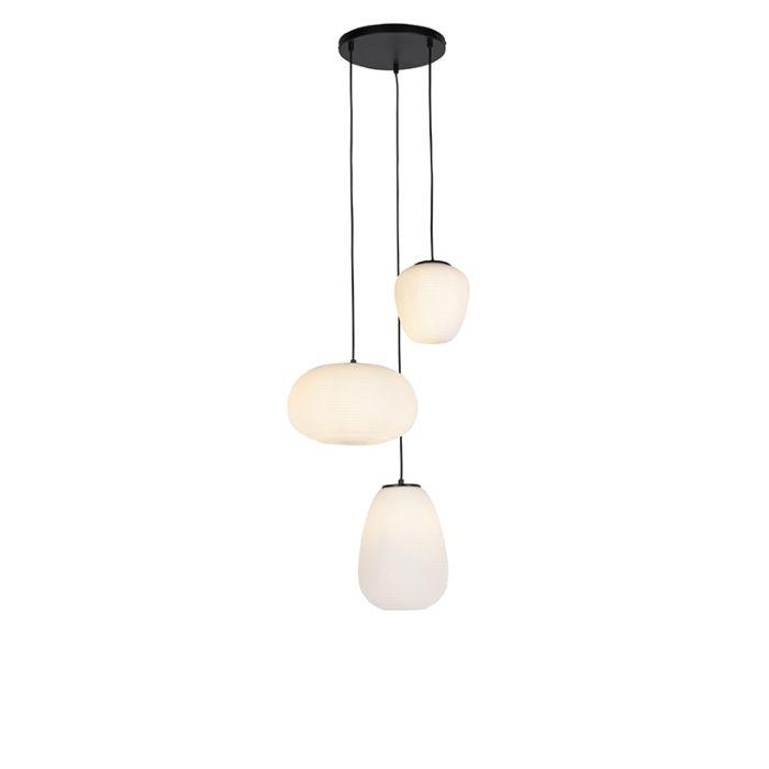 Design-hanglamp-zwart-3-lichts-met-opaal-glas---Hero