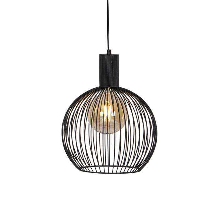 Moderne-ronde-hanglamp-zwart-30-cm---Wire