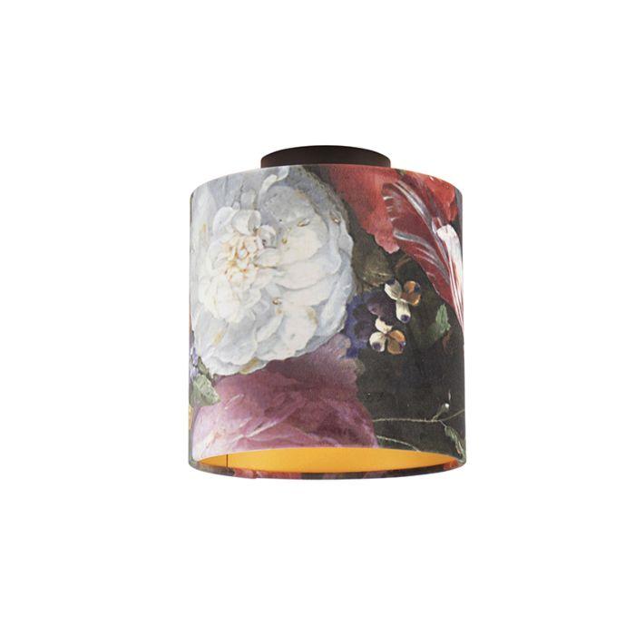 Plafondlamp-met-velours-kap-bloemen-met-goud-20-cm---Combi-zwart