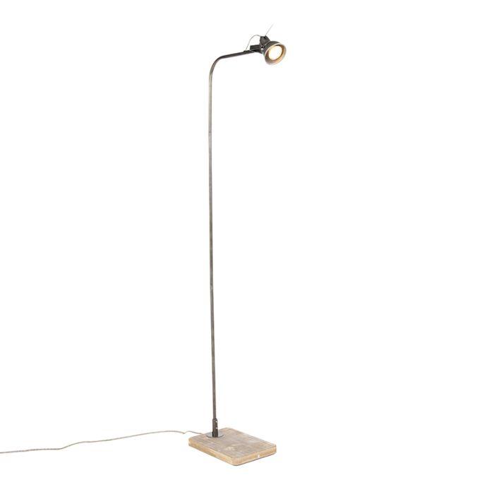 Industriële-vloerlamp-zwart-met-hout---Reena