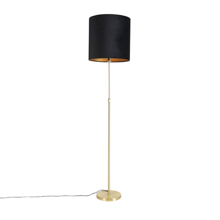 Vloerlamp-goud/messing-met-velours-kap-zwart-40/40-cm---Parte