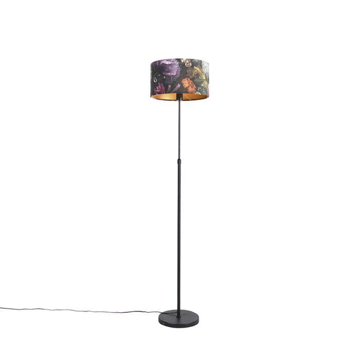 Vloerlamp-zwart-met-velours-kap-bloemen-35-cm---Parte
