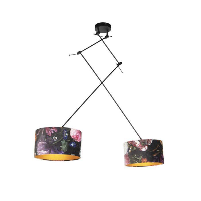 Hanglamp-met-velours-kappen-bloemen-met-goud-35-cm---Blitz-II-zwart