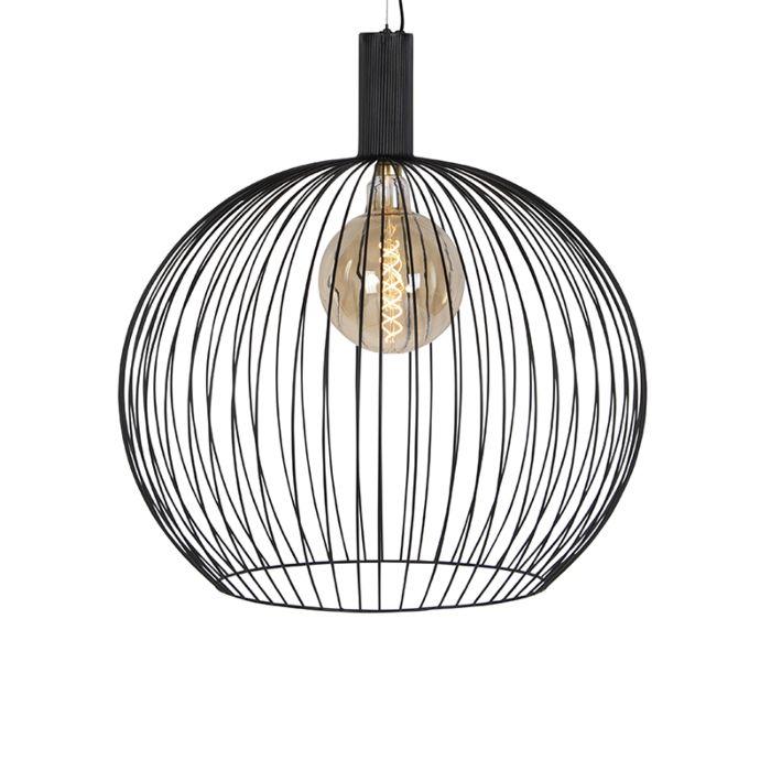 Moderne-ronde-hanglamp-zwart-70-cm---Wire
