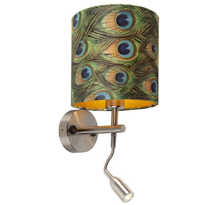 Moderne-wandlamp-staal-met-leeslamp-en-kap-velours-20/20/20-pauw---goud