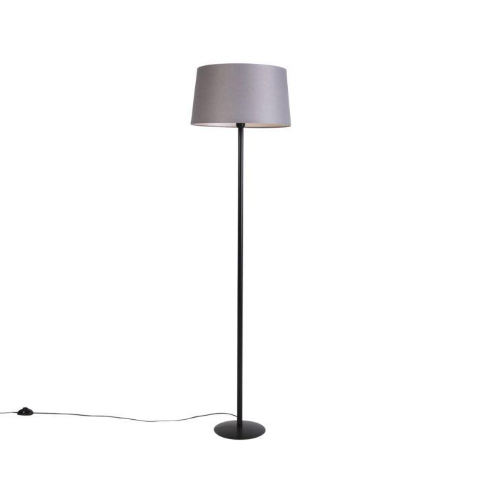 Zwarte-vloerlamp-met-linnen-kap-donkergrijs-45-cm---Simplo