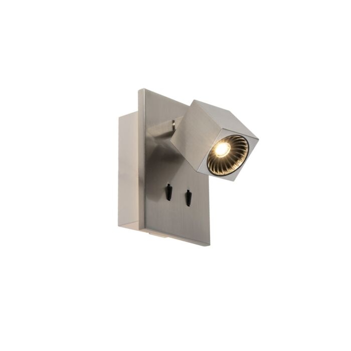 Moderne-wandlamp-staal-incl.-LED-kantelbaar---Cupra