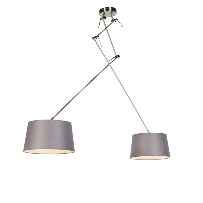 Hanglamp-met-linnen-kappen-donkergrijs-35-cm---Blitz-II-staal