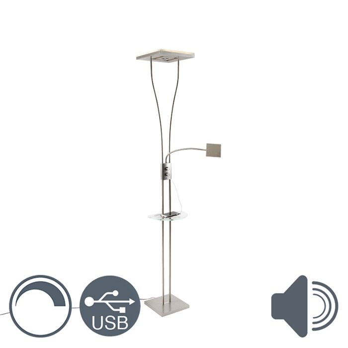 Moderne-vloerlamp-staal-met-leeslamp-USB-poort-incl.-LED---Hella