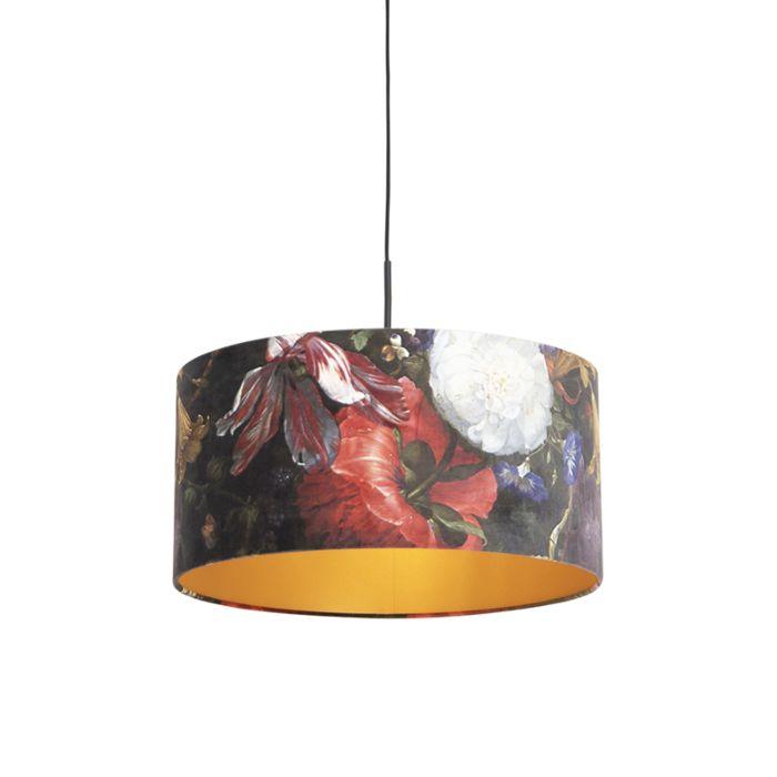 Hanglamp-met-velours-kap-bloemen-met-goud-50-cm---Combi