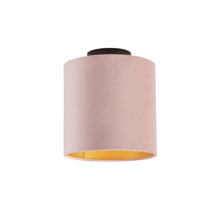 Plafondlamp-met-velours-kap-oud-roze-met-goud-20-cm---Combi-zwart