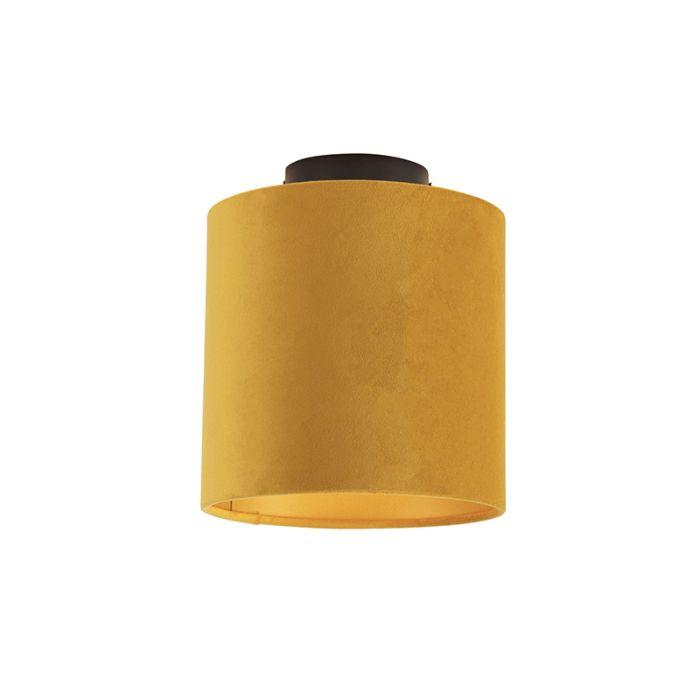 Plafondlamp-met-velours-kap-oker-met-goud-20-cm---Combi-zwart