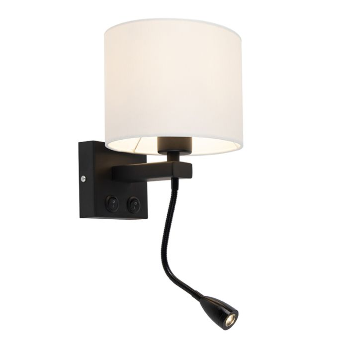 Moderne-wandlamp-zwart-met-witte-kap---Brescia